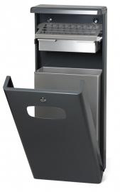 Afvalbak met afdak en asbak antraciet - 32 liter