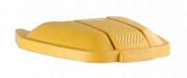 Mobiele container Rubbermaid deksel los geel