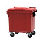 Container rood vlak deksel - 1100 liter