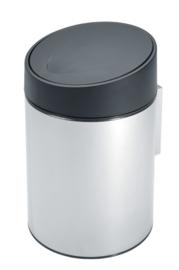 wandafvalemmertje Slim bin, Brabantia RVS/zwart - 5 liter