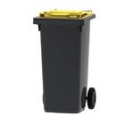 Mini container grijs/ geel deksel- 120 liter