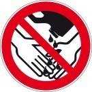 Verbodssticker chemicaliën te gebruiken bij handen wassen