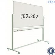 Whiteboard 1000x2000mm dubbelzijdig magnetisch emaille verrijdbaar pro