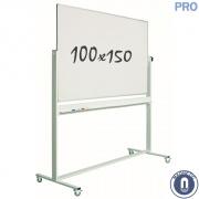 Whiteboard 1000x1500mm dubbelzijdig magnetisch emaille verrijdbaar pro