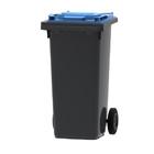 Mini container grijs/ blauw deksel- 120 liter