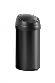 Ronde afvalbak zwart met touchdeksel zwart - 60 liter
