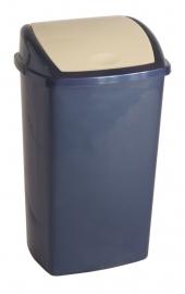 Afvalbak blauw deksel roze - 50 liter ( set 12 stuks )