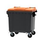 Container grijs vlak deksel oranje - 1100 liter