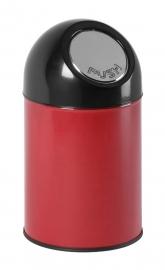 Afvalbak met pushdeksel rood - 30 liter