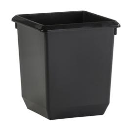 Vierkante papierbak kunststof zwart - 21 liter ( set 4 stuks )