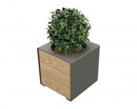 plantenbak KUBE hout en staal 450x450x450mm