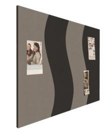 Prikbord bulletin 900x1200mm wave zwart/grijs