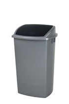 Afvalbak grijs deksel zwart - 50 liter