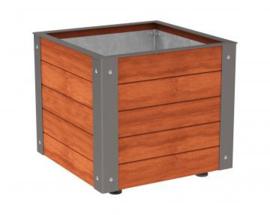 plantenbak Silaos hout en staal 800x800x600mm