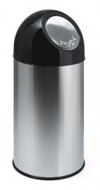 Afvalbak met pushdeksel RVS - 40 liter