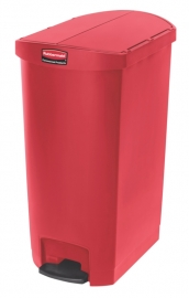 Slim Jim Step On container End Step kunststof, Rubbermaid rood - 68 liter