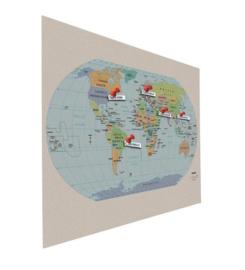Prikbord bulletin 900x1200mm wereldkaart zwevend