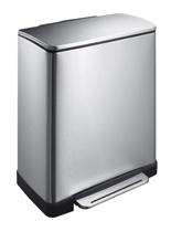 Pedaalemmer E-Cube recycling, EKO mat RVS - 1 x 28 en 1 x 18 liter