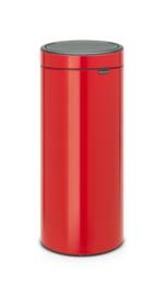 Touch bin met kunststof binnenemmer, Brabantia rood - 30 liter