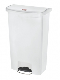 Slim Jim Step On container Front Step kunststof, Rubbermaid wit - 68 liter