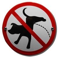 Emaille verbodsbord honden uitlaten-2 rond 100mm