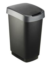 Afvalbak Twist zwart/zilver - 25 liter