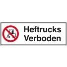 Verbodsbord heftrucks verboden 450x150mm