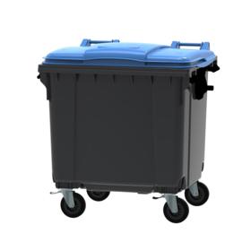 Container grijs vlak deksel blauw - 1100 liter