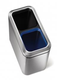 Slim Open Recycler, Simplehuman mat RVS - 2 x 10 liter