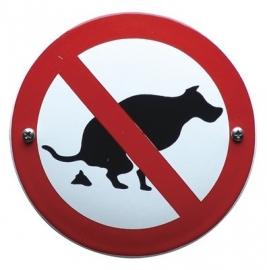 Emaille verbodsbord honden uitlaten-1 rond 100mm