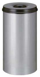 Vlamdovende papierbak aluminiumgrijs/ zwart - 50 liter