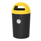 Afvalbak Metro Dome zwart/ deksel geel - 100 liter