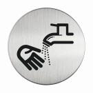 RVS pictogram handen wassen rond 83mm
