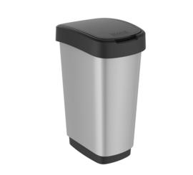 Afvalbak Twist zilver/zwart - 50 liter ( set 2 stuks )