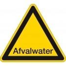 Waarschuwingssticker afvalwater driehoek 200mm