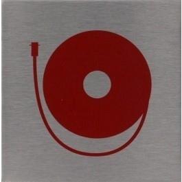 RVS pictogram brandslanghaspel vierkant 80mm