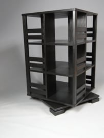 Gerari's Moderne Eiken boekenmolen Zwart 2-4 etages Blad 55 cm