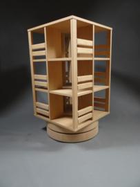 Gerari's Moderne Eiken boekenmolen Blad 55 cm op ronde voet 2-4 etages