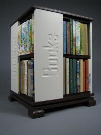 Trendy boekenmolen Bruin met enkel vlaks witte Blokletter teksten Blad 46 cm