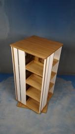 Trendy Boekenmolen 2-4 etages met 2 vlaks zijvlakken accent eiken enkel Blad 55 cm