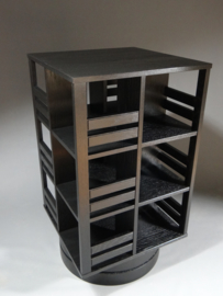 Gerari's Moderne Eiken Zwarte Bibliothèque tournante Blad 55 cm op ronde voet 2-4 etages
