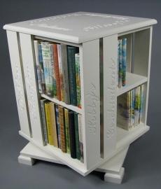 Trendy boekenmolen Wit met dubbel vlaks witte Schoonschriftteksten Blad 46 cm