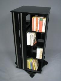 Zwart met Aluminium boekenmolen 2-4 etages Blad 55 cm
