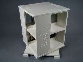 Trendy boekenmolen Wit met enkel vlaks witte Blokletter teksten Blad 46 cm