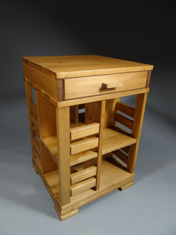 Gerari's  Moderne Grenen boekenmolen met lade