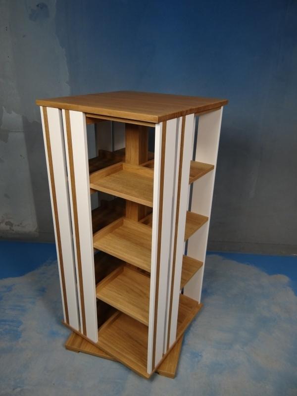 Trendy rotierendes Bücherregal 2-4 etages met 2 vlaks zijvlakken accent eiken dubbel Blad 55 cm