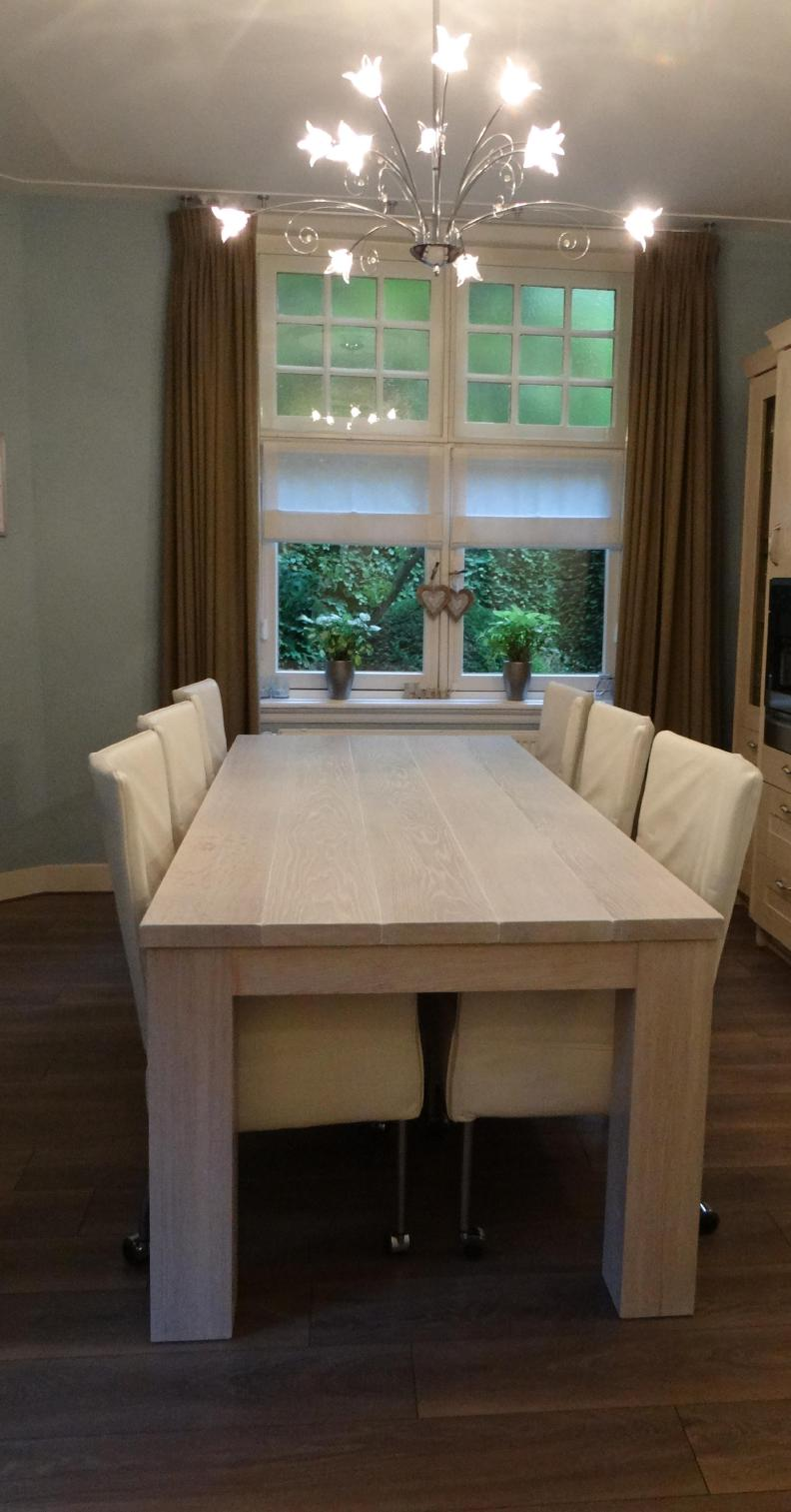 eiken massief eettafel extra white wash