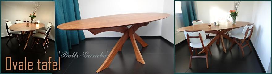 ovale bamboe tafel