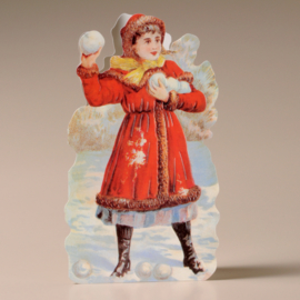 Kaart / Kerstkaart / Meisje  sneeuwballen gooien / ME