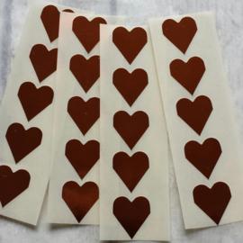 Sticker / hartje / 2cm / brons / 20 stk